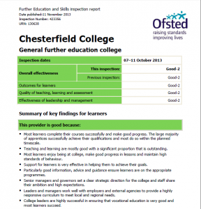 Chesterfield Ofsted Report